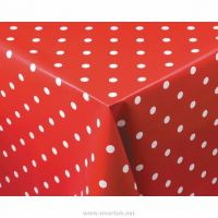 PVC Tablecloth Polka Dot Crimson 890x890mm
