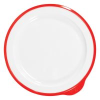 Omni White Large Low Plate w/Red Rim 240x230x20mm