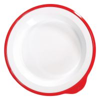 Omni White Large Deep Plate with Red Rim 240x230x35mm