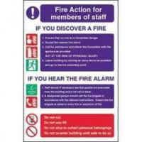 Fire Action for Staff - 300x200mm