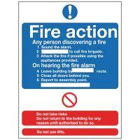 Fire Action - 300x200mm Rigid