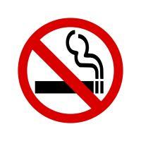 No Smoking Symbol Window - 100x100mm (Self