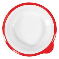 Omni White Small Deep Plate w/Red Rim 180x170x35mm