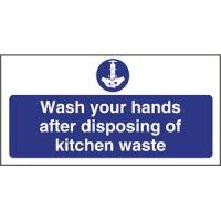 Wash Hands Kitchen Waste Sign - 100x200mm