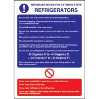 Refrigerator Guidelines sign - 300x200mm