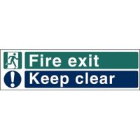 Fire Exit. Keep Clear Sign - 150x450mm (Se